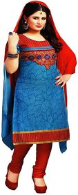 Virgo18+ Blue Color Pure Cotton Embroidered Ethnic Wear.