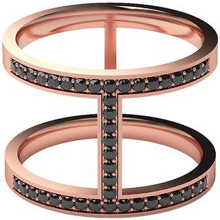 Real Diamonds & Hallmarked 14Kt Rose Gold & Black Dia Ring La-25-14Kt