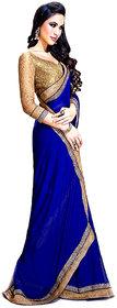 Florence Blue Chiffon Plain Saree With Blouse
