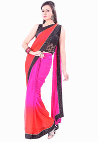 Aaina Red Georgette Plain Saree With Blouse