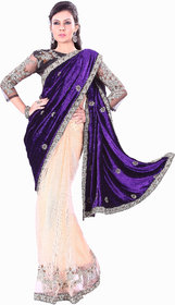 florence clothing company Blue Net Embroidered Saree With Blouse