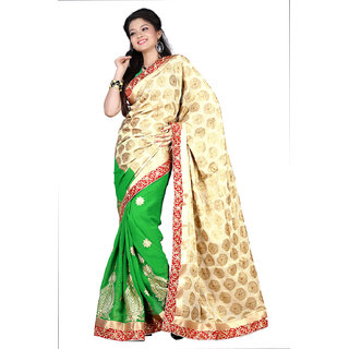 Aaina Green Party Wear Jaquard Embroidered Saree (FL-10059)