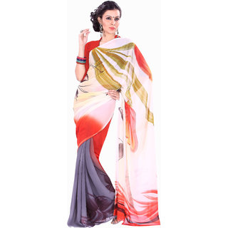 Aaina Multicolor Party Wear Georgette Printed Fashion Saree (FL-10078)