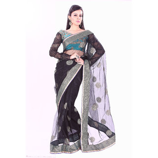 Aaina Black Net Dotted Saree With Blouse