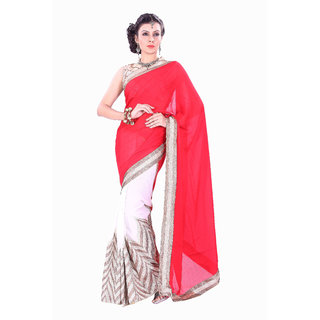 Aaina Red Georgette Geometric Saree With Blouse