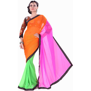 Aaina Orange Party Wear Chiffon Self Design Fashion Embroidered Saree (FL-10073)