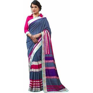 Aaina Blue Bhagalpuri Silk Striped Saree With Blouse