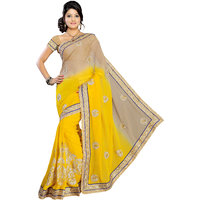 Aaina Yellow Chiffon Embroidered Saree With Blouse