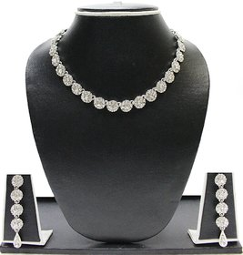 Zaveri Pearls Silver Plated Silver Alloy Necklace Set For Women