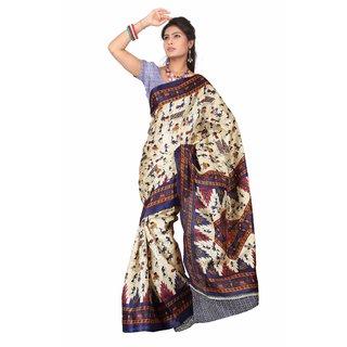 Aaina Multi Printed Bhagalpuri Silk Saree (FL-5034-B)