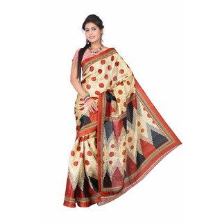 Aaina Multi Printed Bhagalpuri Silk Saree (FL-5035-A)