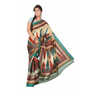 Aaina Multi Printed Bhagalpuri Silk Saree (FL-5033-B)