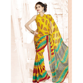 Aaina Multi Printed Chiffon Saree (FL-1440-B)
