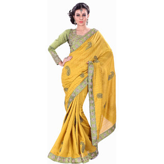Aaina Yellow Party Wear Silk Self Design Fashion Embroidered Saree (FL-10074)
