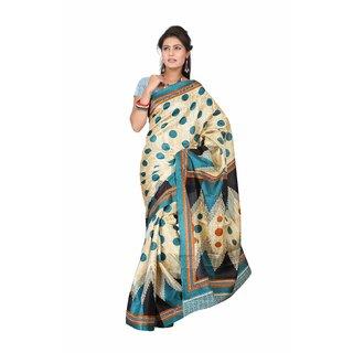 Aaina Multi Printed Bhagalpuri Silk Saree (FL-5035-B)