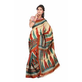 Aaina Multi Printed Bhagalpuri Silk Saree (FL-5033-C)