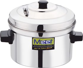 Meet Stainless Steel Idli Cooker with 4 Plates ,9 Diameter,Sliver Steel