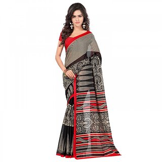Sareemall Multicolor Silk Printed Saree With Blouse