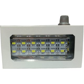Rechargeable LED Light with 12 bulbs in Metal body-white