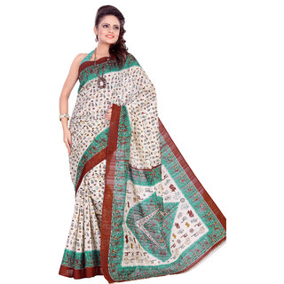 Aaina Multi Printed Bhagalpuri Silk Saree (FL-1293-C)