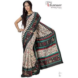 Aaina Multi Printed Bhagalpuri Silk Saree (FL-1321-A)