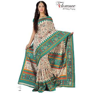 Aaina Multi Printed Bhagalpuri Silk Saree (FL-1321-D)
