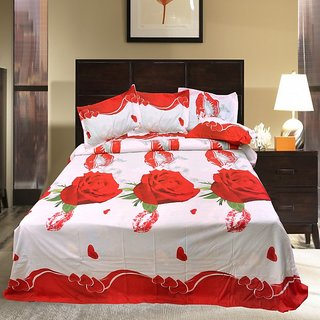AKASH GANGA MULTI COLOUR POLLY COTTON BEDSHEET WITH 2 PILLOW COVERS (KM583)