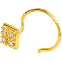 Mahi Gold Plated Gilded Square Nosepin with CZ for Women NR1100150G