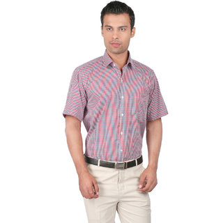 Zido Slim Fit Checkered Red Blended Shirt
