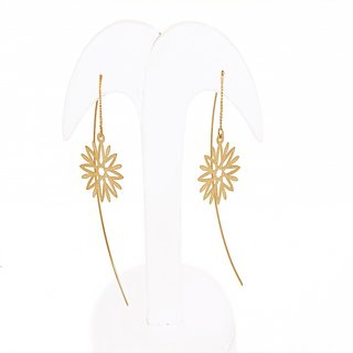 Thingalicious Gold Dangler Flower Needle Thread Type Earring For Women