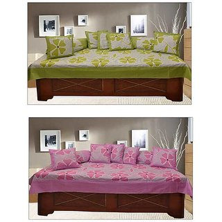 Akash Ganga Green  Light Purple 100 Cotton Floral Diwan Set (KM694)