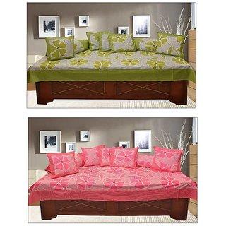 Akash Ganga Green  Pink 100 Cotton Floral Diwan Set (KM695)