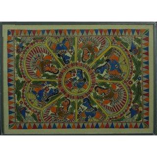 Madhubani Painting - Radha Krishna - Raas Leela