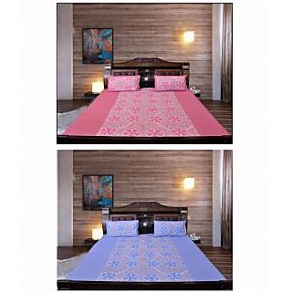 Akash Ganga Special Combo of 2 Cotton Bedsheets with 4 Pillow Covers (KM686)