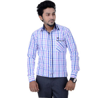 Flying Men Purple Checkered Casual Mens Shirt