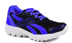 Shooz Mens Black And Blue Lace-up Running Shoes