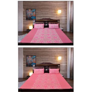 Akash Ganga Glorious Cotton 2 Bedsheets with 4 Pillow Covers (KM689)