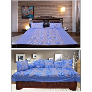 Akash Ganga Blue Floral Cotton Double Bedsheet and Diwan Set (KM696)