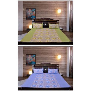 Akash Ganga Blue  Green Floral Cotton 2 Bedsheets with 4 Pillow Covers (KM688)