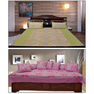 Akash Ganga Combo of 1 Cotton Double Bedsheet  1 Diwan Set (KM702)