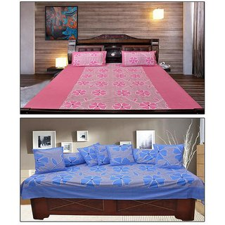 Akash Ganga PinkBlue Floral Cotton Double Bedsheet with 2 Pillow Covers (KM703)