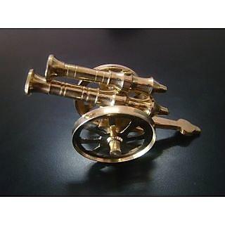 Brass Canon Double Barrel Showpiece Home Decor Handicraft Gift item