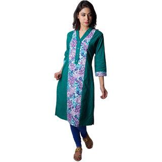 Triveni Green Printed Cotton Stitched Kurti