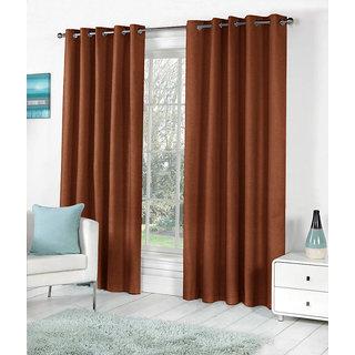 VAP Mart Polyester Faux Silk Eyelet Door Brown Curtain-7Ft