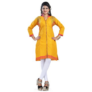 Triveni Yellow Embroidered Cotton Stitched Kurti