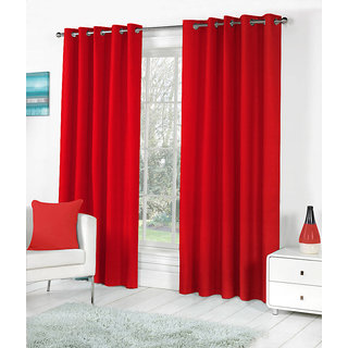 VAP Mart Set of 2 Polyester Faux Silk Eyelet Window Red Curtain-5Ft