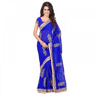 Sareemall Blue Chiffon Embroidered Saree With Blouse