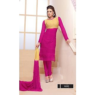 Thankar Dark Pink And Yellow Embroidered Chiffon Straight Suit (Unstitched)