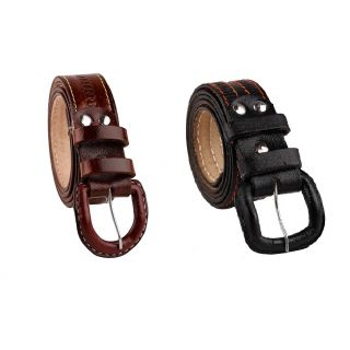 Combo Of Casual Style Black  Brown Leather Belts