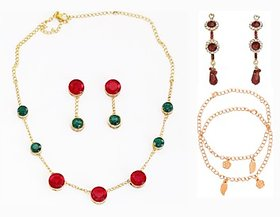 Touchstone Gold Plated Fashion Jewellery Of Touchstone With Multi Colour Stone Necklace Set